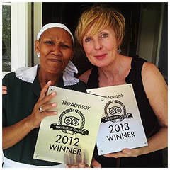 Liz and Olga proudly displaying our TripAdvisor 2012 and 2013 certificates. Click here to see our accolades !