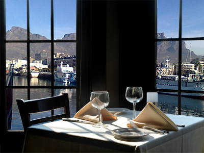 Scenic view of Table Mountain from restaurant